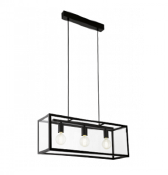 3 Light Rectangular Black/Glass Panel