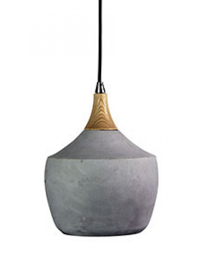 Concrete & timber 1 light pendant