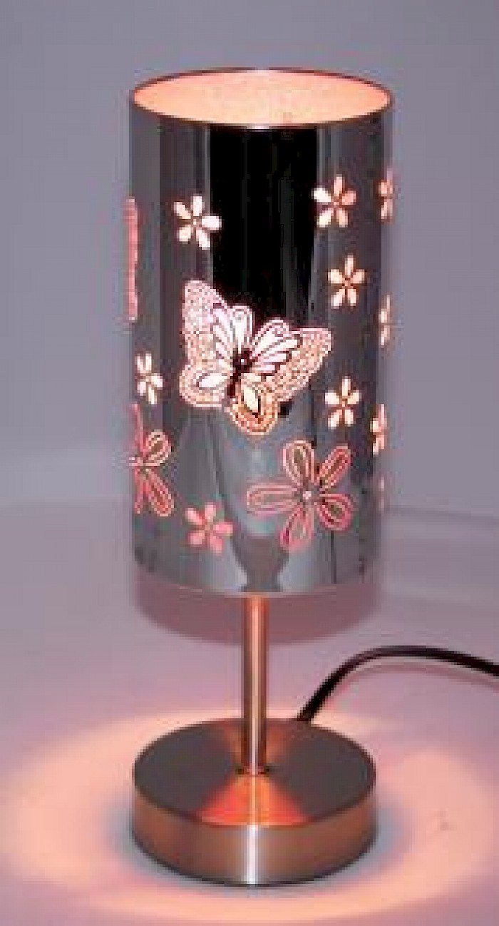 Butterfly 3 stage touch lamp pink