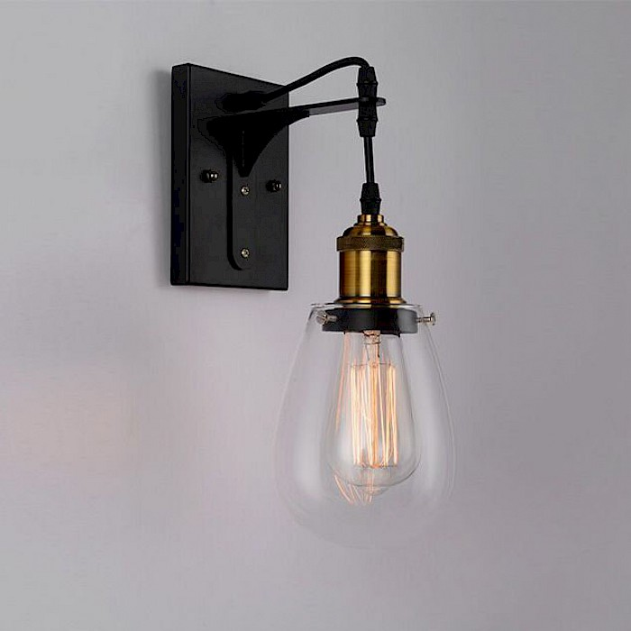 Industrial black-clear glass wall light