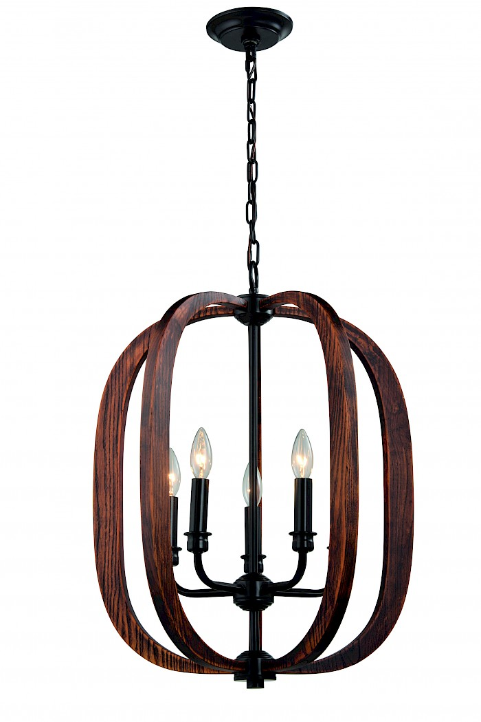5 Light timber & black chandelier