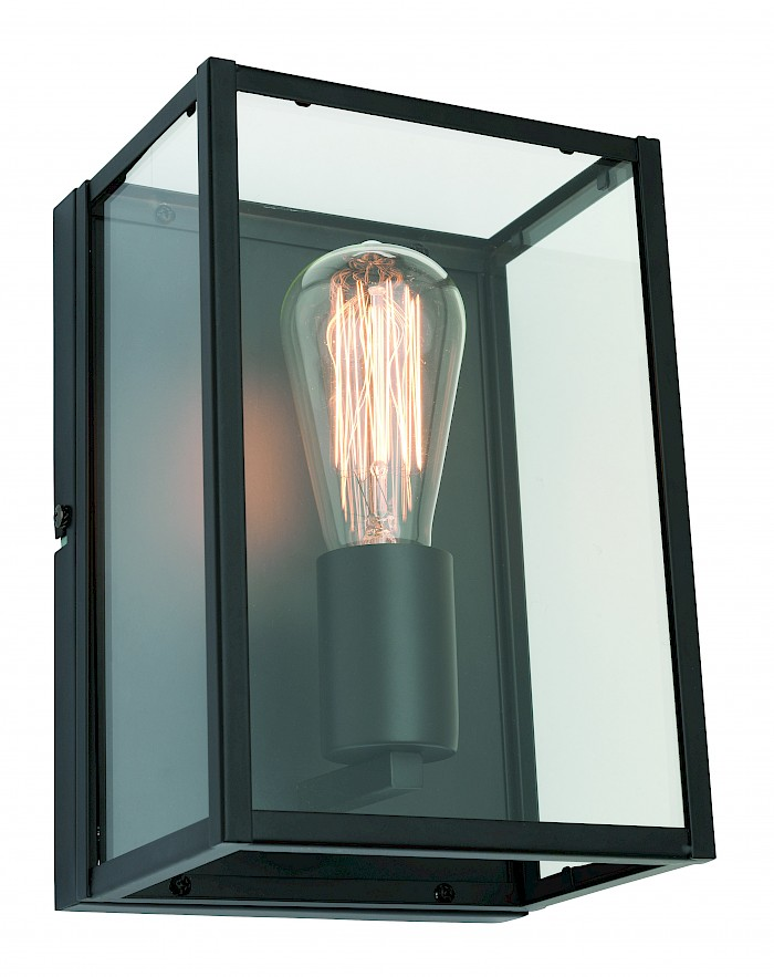 Rectangular black-clear glass wall light