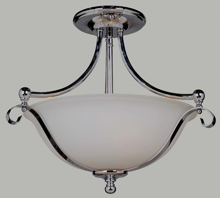 Semi-flush chrome & opal matt glass