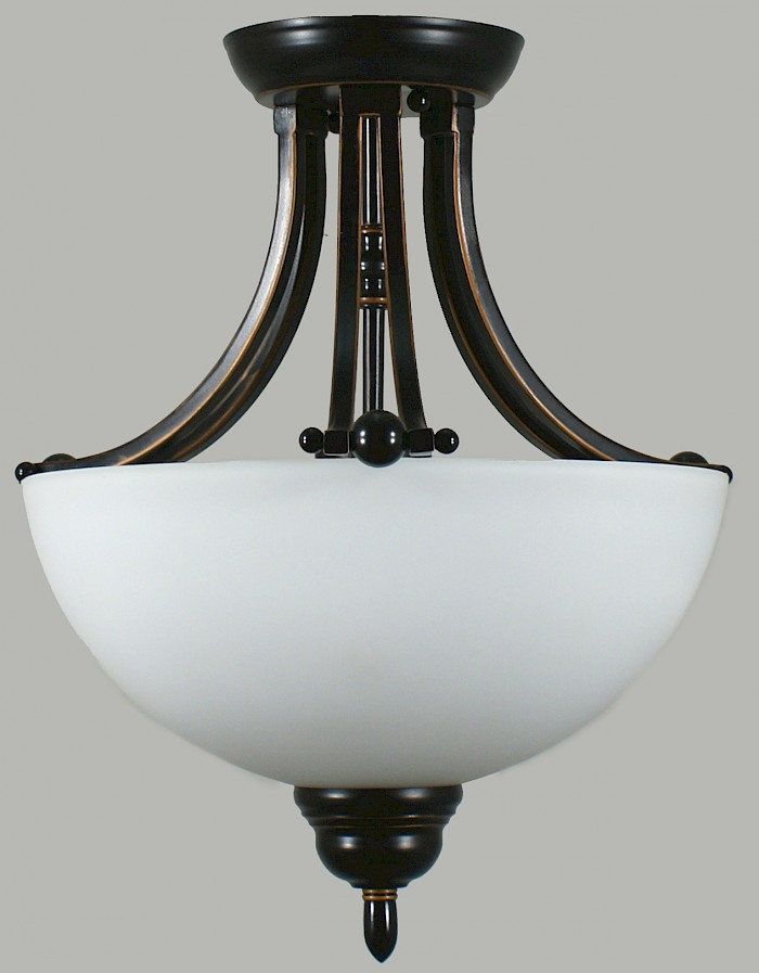 2 light semi-flush bronze & opal glass