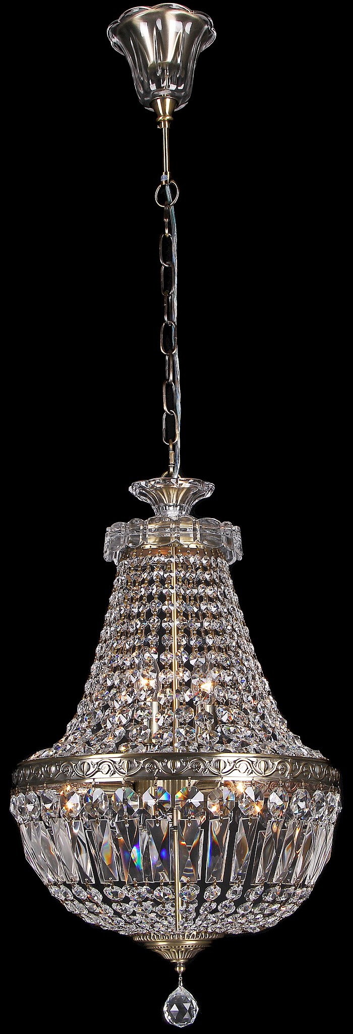 3 light basket chandelier