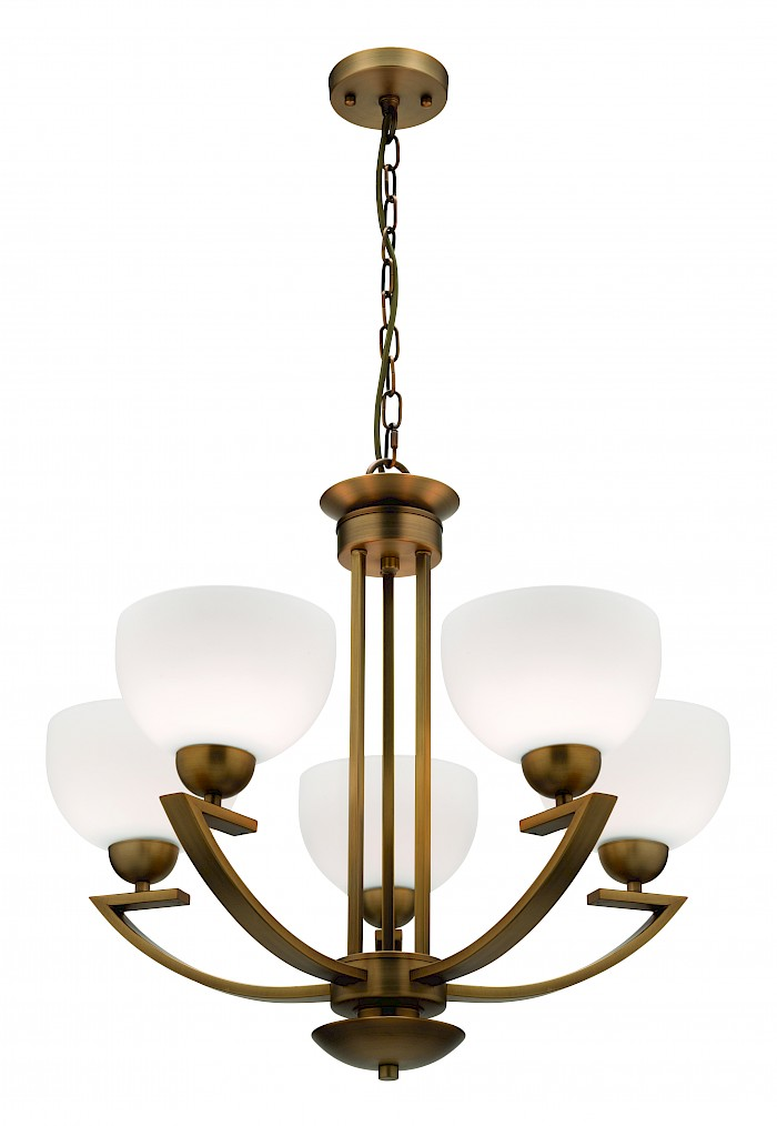 5 light aged brass pendant