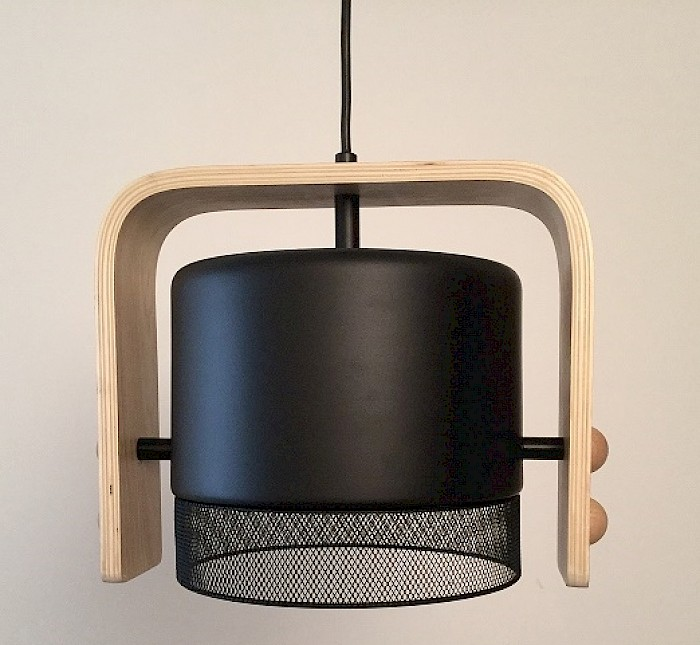 1 Light timber and black metal pendant