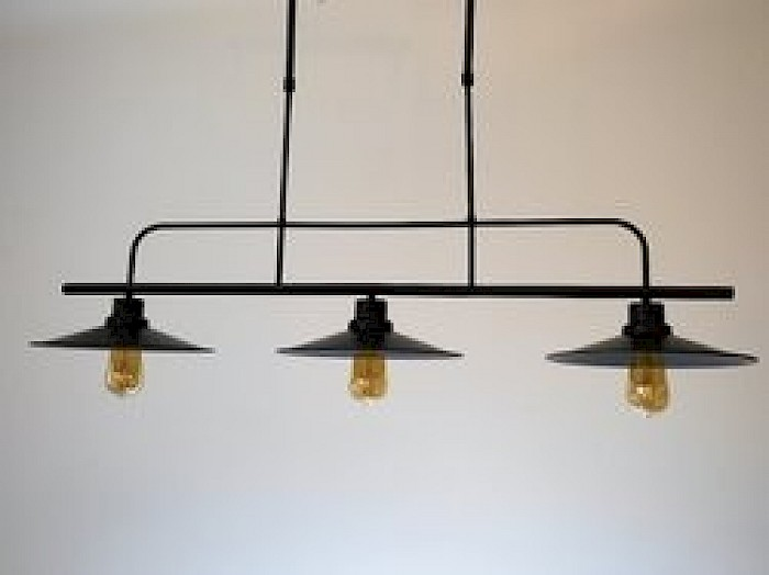 3 Light black bar pendant