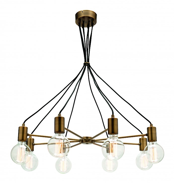8 Light Aged Brass Pendant