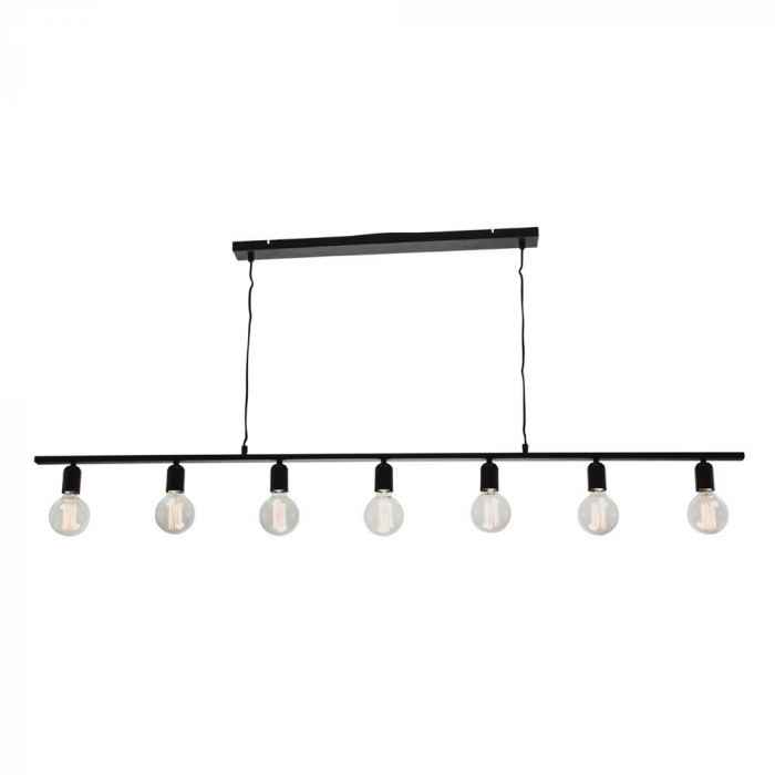 7 Light Matt Black Pendant