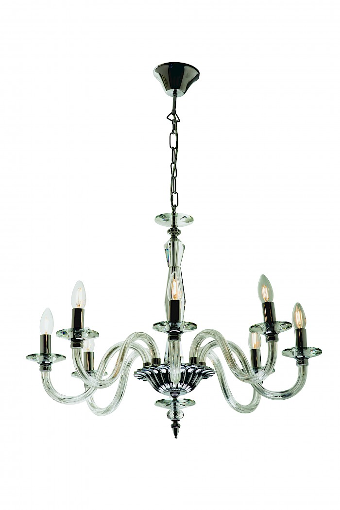 Crystal & Chrome Chandelier Pendant