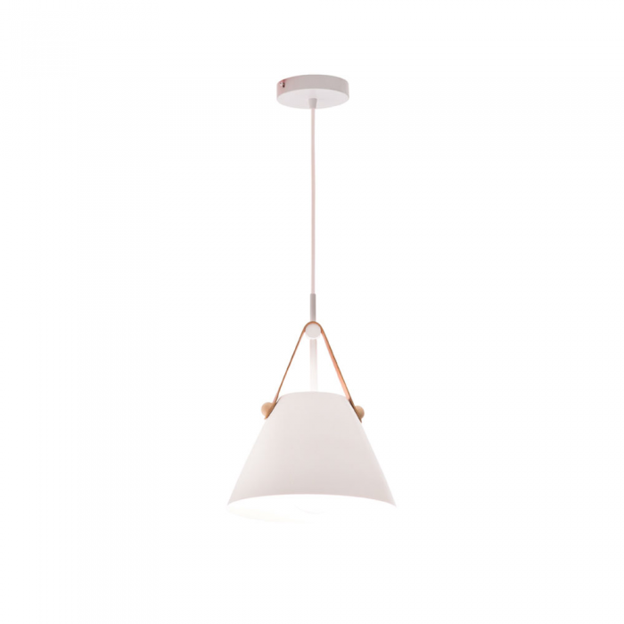 1 Light Matt White/Faux Leather Pendant
