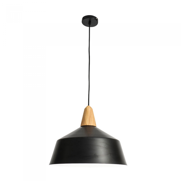 Metal Shade/Timber 1 Light Pendant