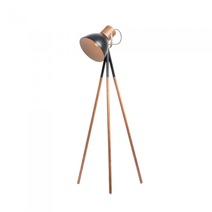 Timber & Metal Tripod Floor Lamp