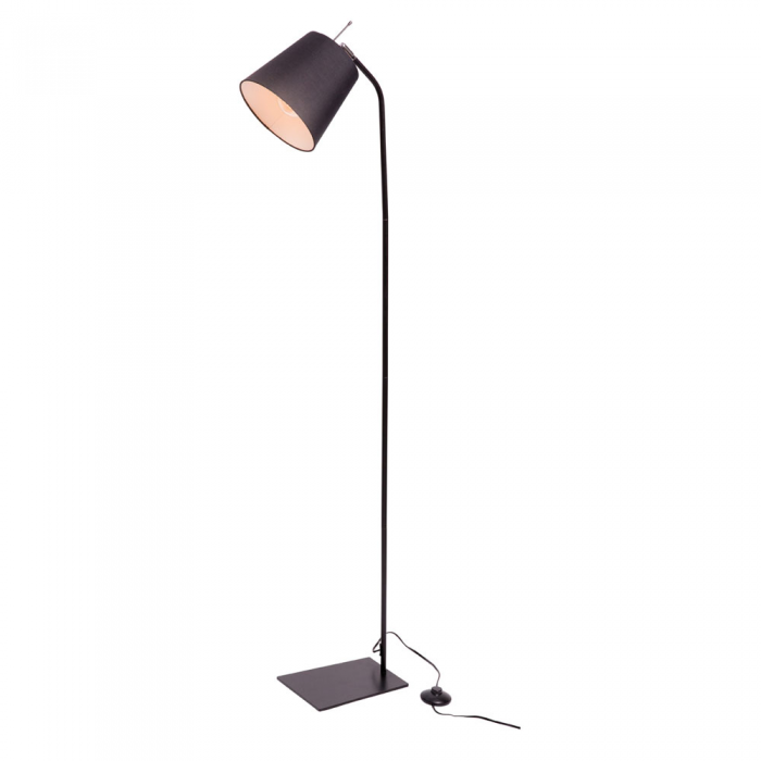 Black Metal/Fabric Shade Floor Lamp