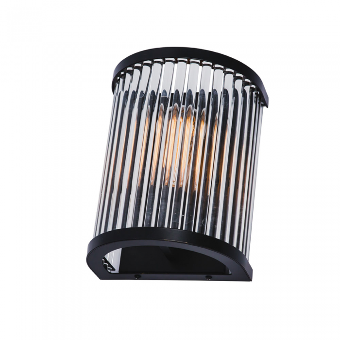 Matt Black/Glass Rods Wall Light