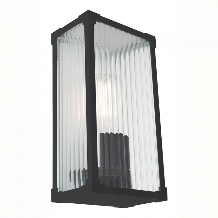 Ribbed Glass & Aluminium Wall Light