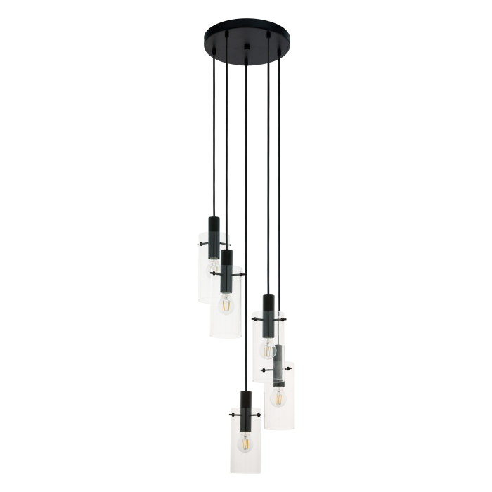 6 Light Clear Glass & Black Pendant