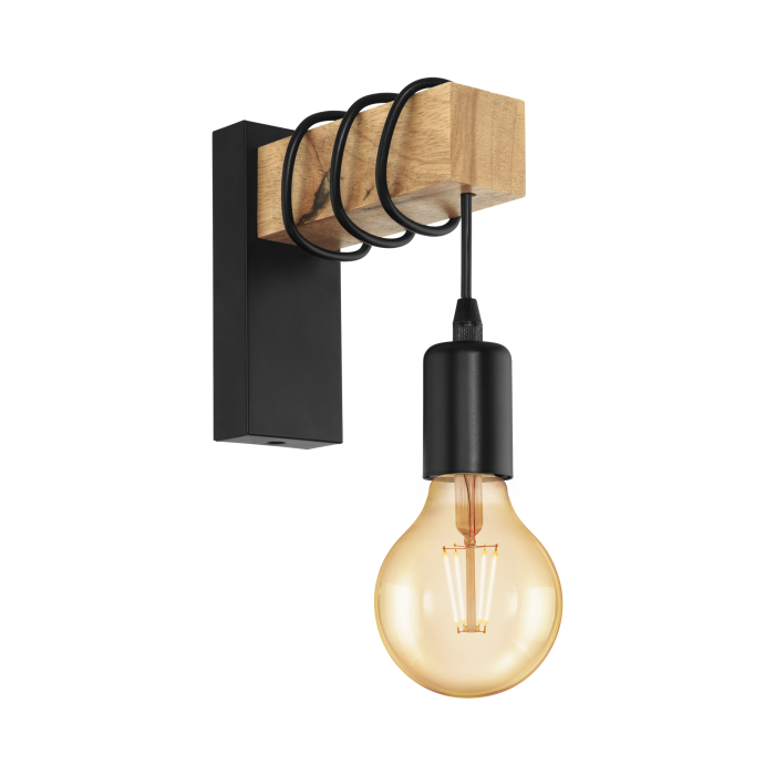 Black & Timber Wall Light