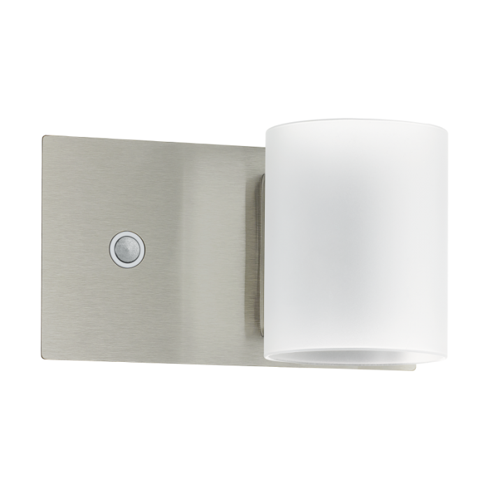 Satin Nickel/White Satin Glass Wall Light