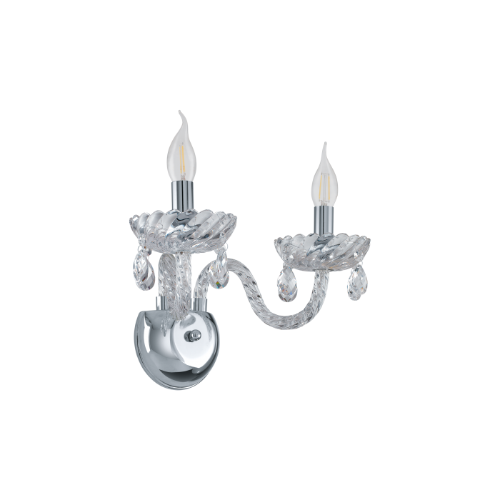 Chrome & Clear Glass Chandelier Wall Light