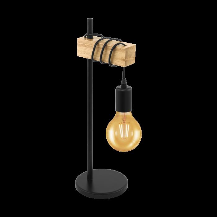 Timber & Black Metal Table Lamp