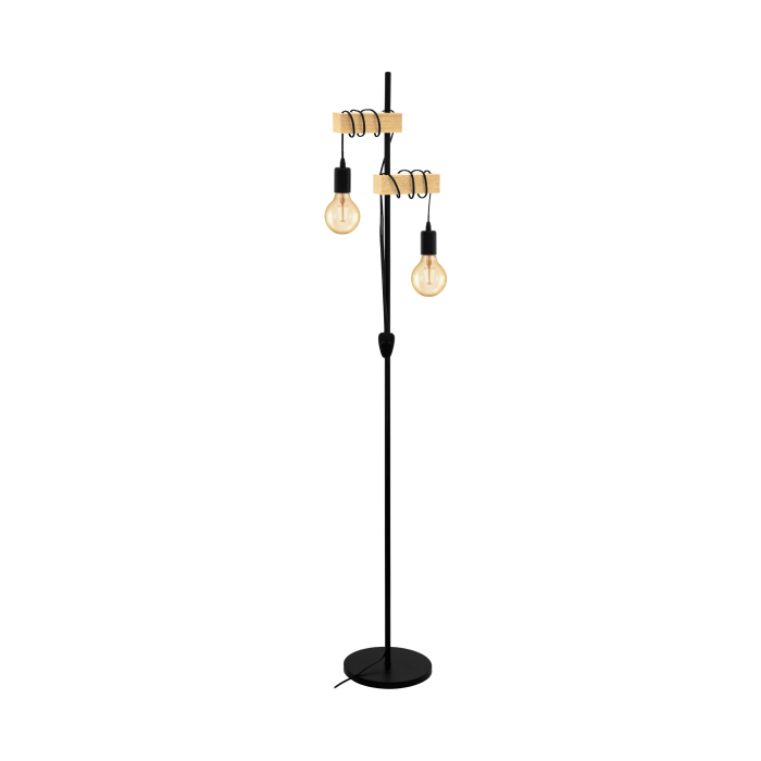 Black Metal & Timber 2LT Floor Lamp