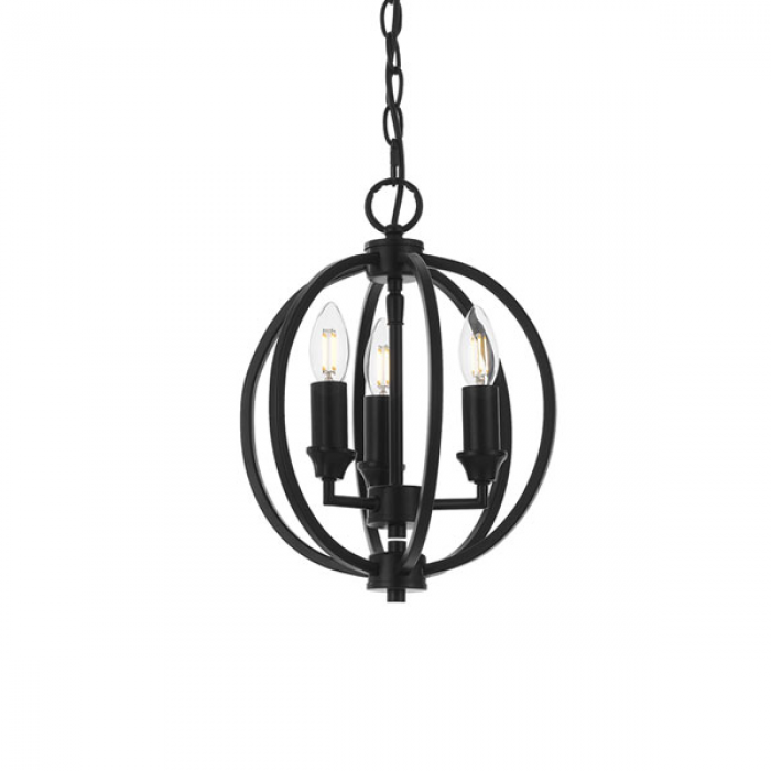 Matt Black Round 3 Light Pendant