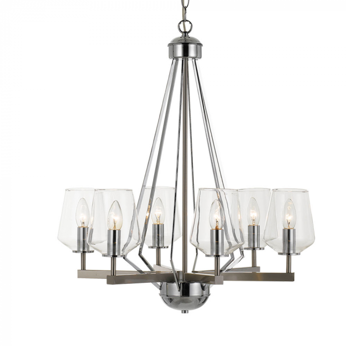 Matt Nickel & Clear Glass Modern Chandelier