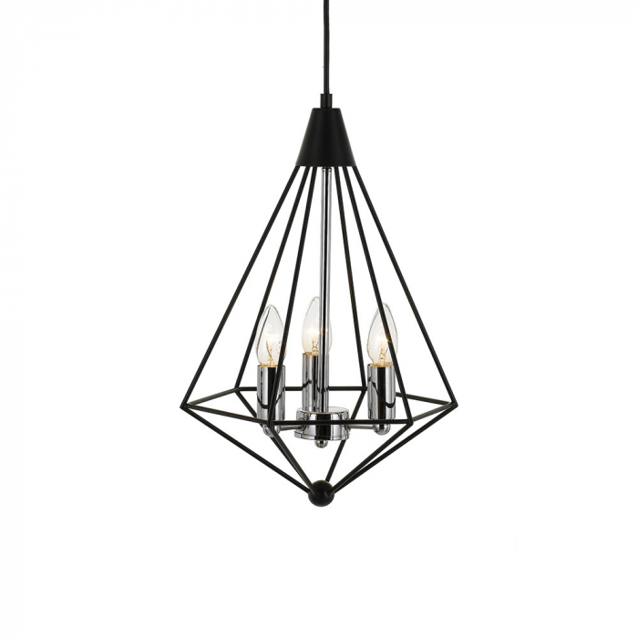 Matt Black & Chrome Dimond Pendant