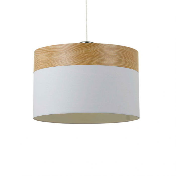 White Fabric & Timber Pendant