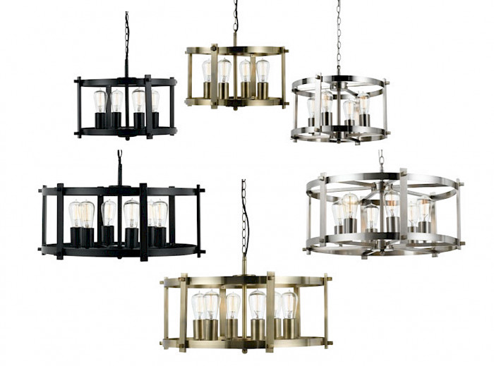 Solid Metal Frame 6 Light Pendant
