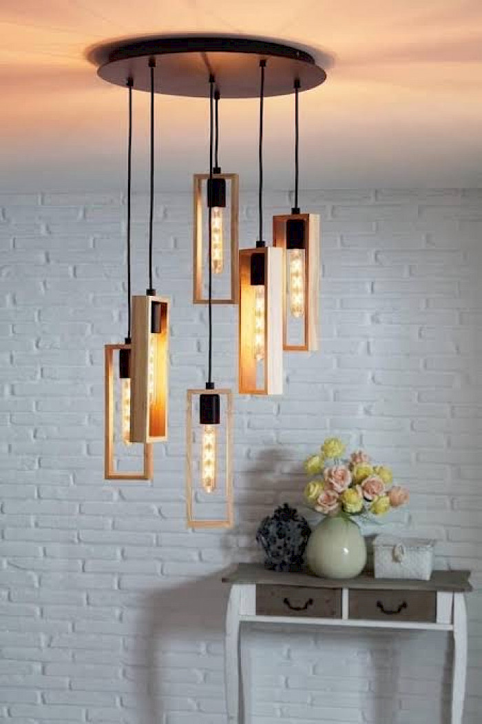 6 light rectangle black and timber pendant