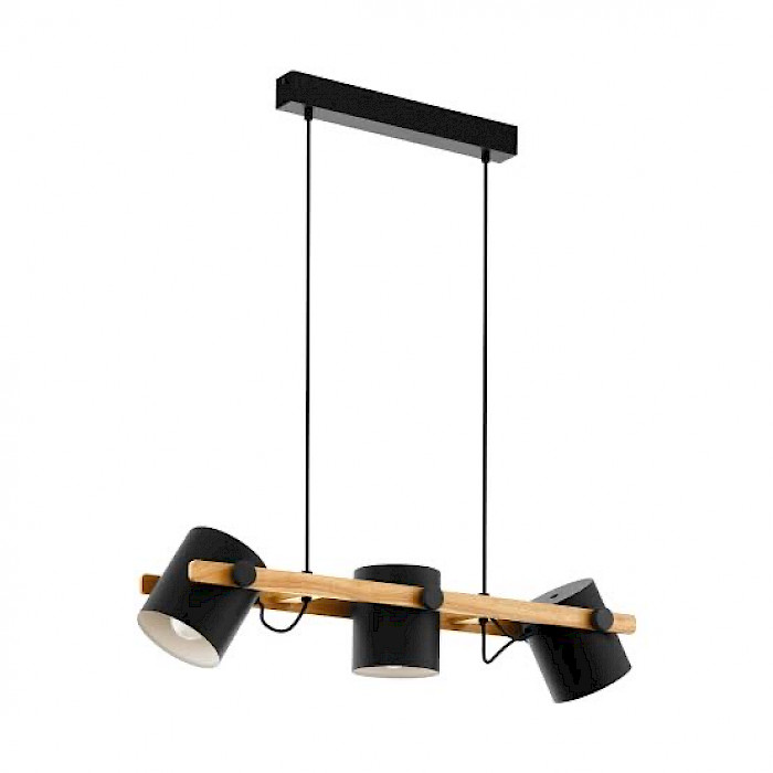 Black and Natural Timber 3 light pendant