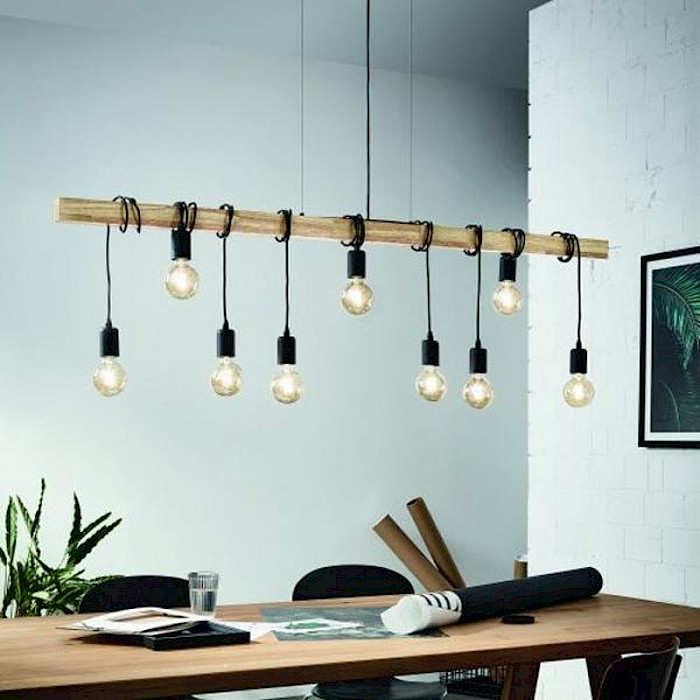 9 light Timber and Black pendant