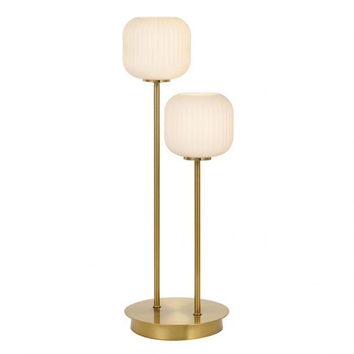 Aged Brass/opal glass or Matt black/smoked glass 2 Lt lamp