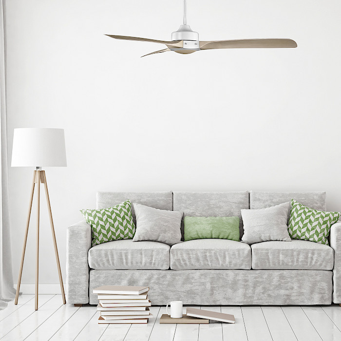 SMART- White Motor Ceiling Fan With Light Timber Blades